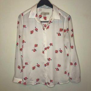 Loft white semi-sheer blouse with pink floral design, petite medium